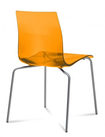 Gel Transparent Orange Stacking Chair with Aluminum Base Set of 2