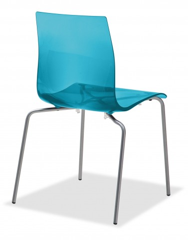 Gel Transparent Blue Stacking Chair with Satinated Aluminum Set of 2