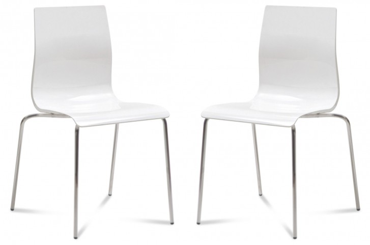 Gel White Chair with Satinated Aluminum Stacking Chair Set of 2