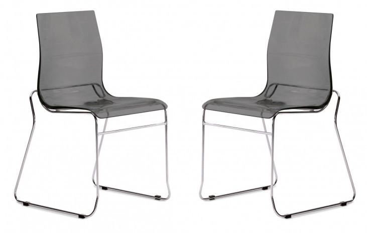 Gel Transparent Smoke Chair Wood Base Set of 2