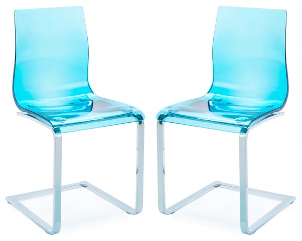 Gel Transparent Blue Chair with Chrome Frame Set of 2