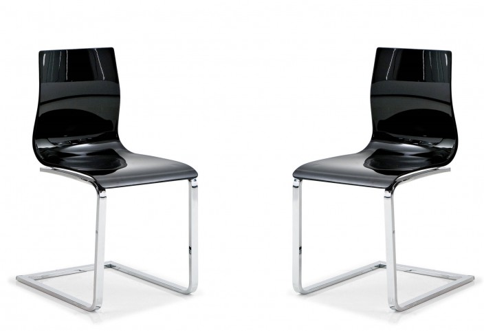 Gel Black Chair with Chrome Frame Set of 2