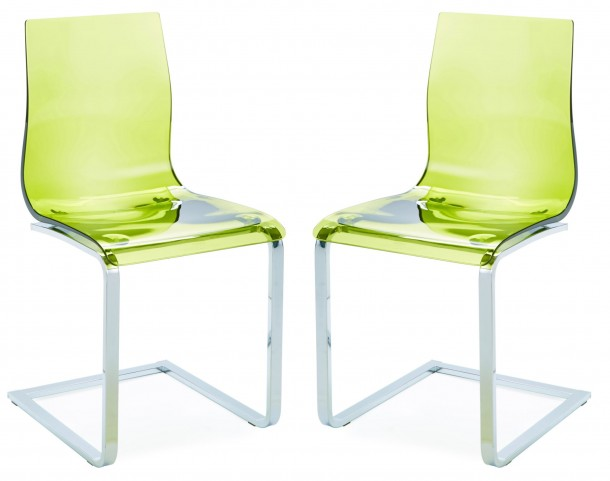 Gel Transparent Green Chair with Chrome Frame Set of 2