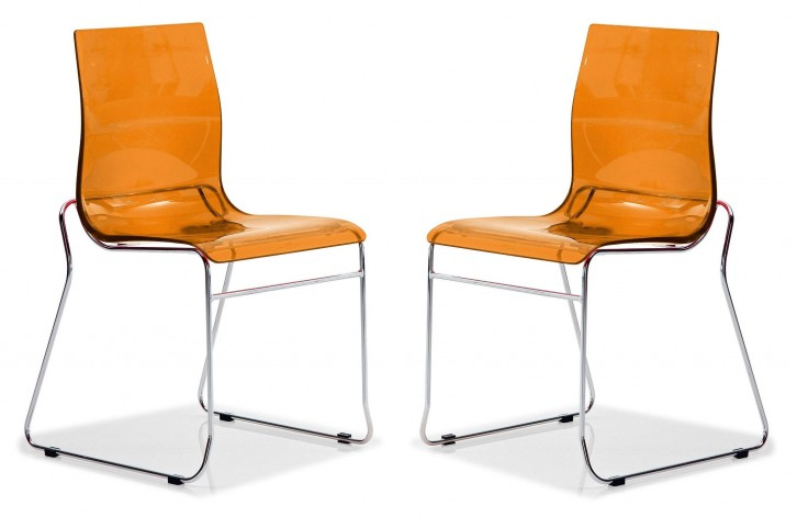 Gel Transparent Orange Chair Wood Base Set of 2