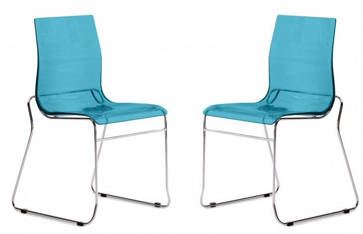 Gel Transparent Blue Stacking Chair with Chrome Frame Set of 2