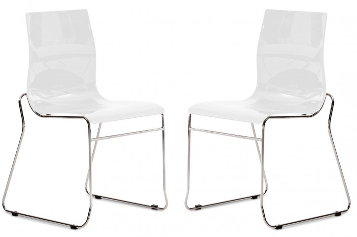 Gel White Stacking Chair with Chrome Frame Set of 2