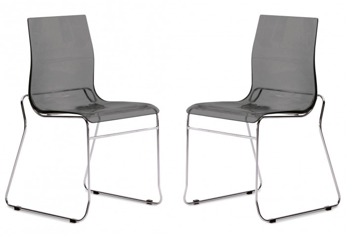 Gel Transparent Smoke Stacking Chair with Chrome Frame Set of 2