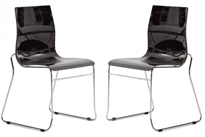 Gel Black Stacking Chair with Chrome Frame Set of 2
