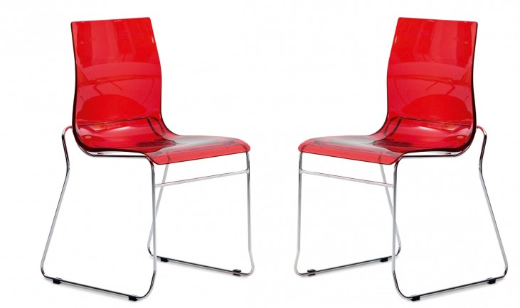 Gel Transparent Red Stacking Chair with Chrome Frame Set of 2
