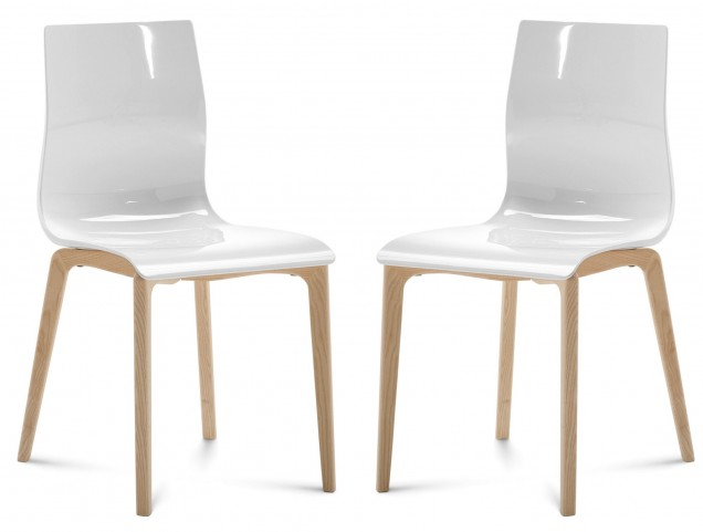 Gel White Chair with Ash White Frame Set of 2