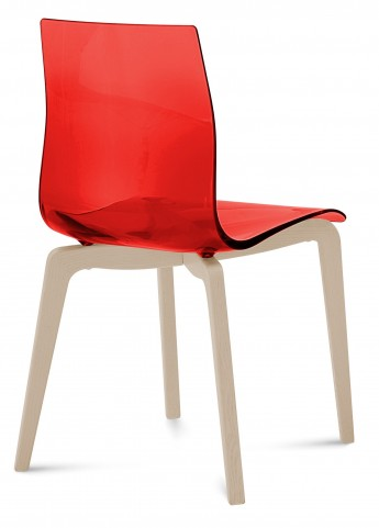 Gel Transparent Red Chair Wood Base Set of 2