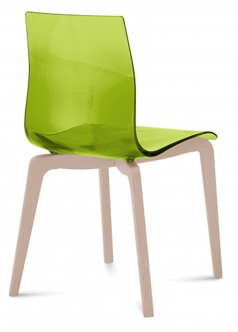 Gel Transparent Green Chair with Ash White Frame Set of 2