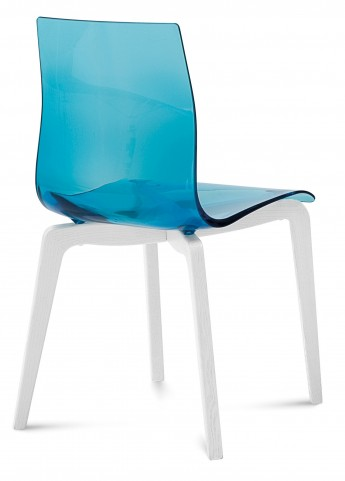 Gel Transparent Blue Chair with Wooden Base Set of 2