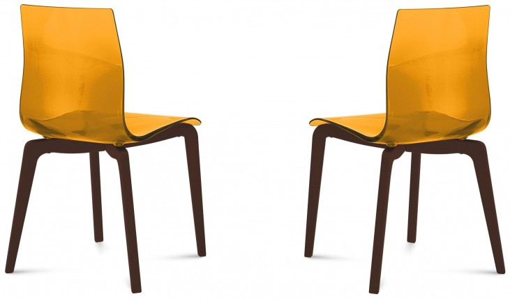 Gel Transparent Orange Chocolate Frame Ashwood Chair Set of 2