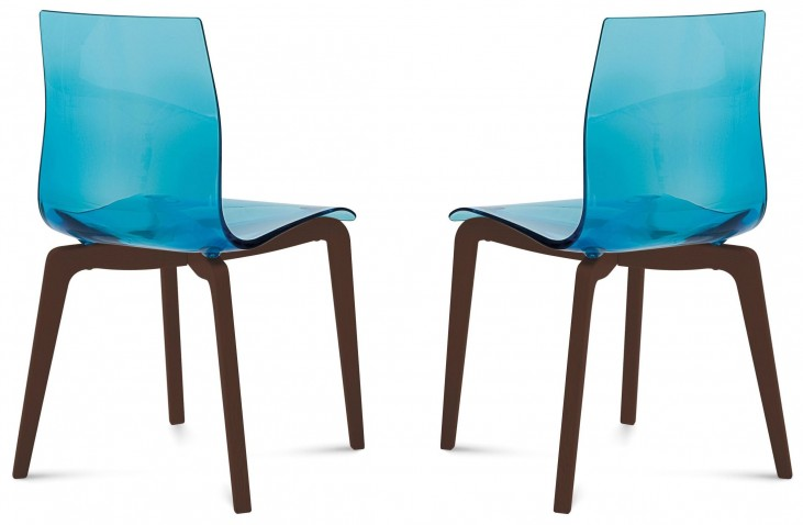 Gel Transparent Blue Chocolate Frame Ashwood Chair Set of 2