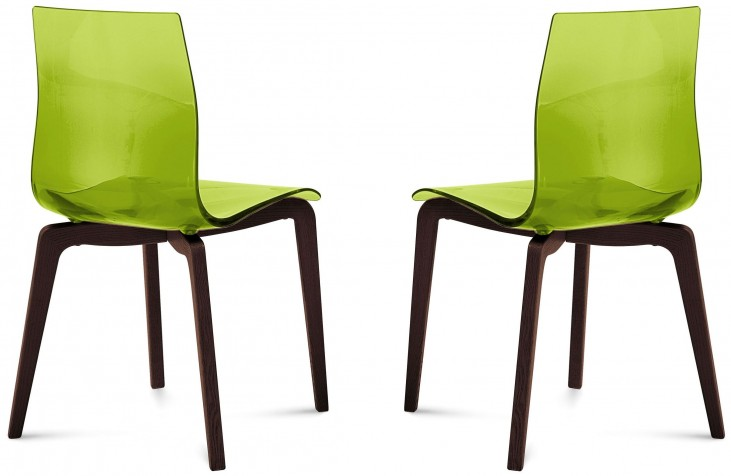 Gel Transparent Green Chocolate Frame Ashwood Chair Set of 2