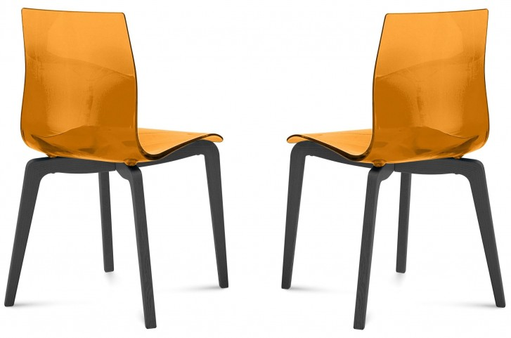 Gel Transparent Orange Anthracite Frame Ashwood Chair Set of 2