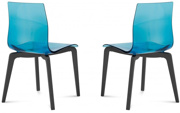 Gel Transparent Blue Anthracite Frame Ashwood Chair Set of 2