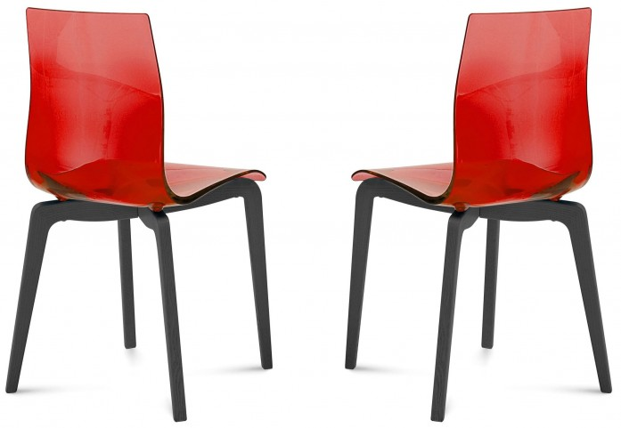Gel Transparent Red Anthracite Frame Ashwood Chair Set of 2