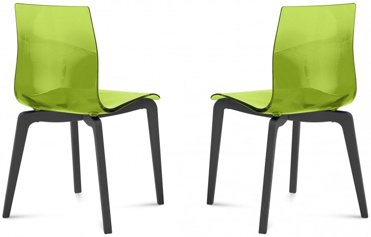 Gel Transparent Green Anthracite Frame Ashwood Chair Set of 2