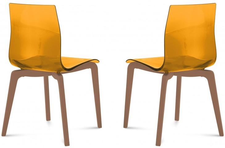 Gel Transparent Orange Ashwood Chair Set of 2