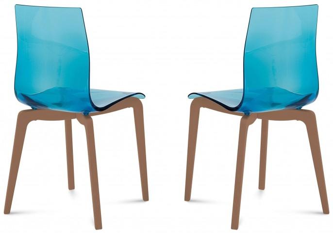 Gel Transparent Blue Walnut Frame Ashwood Chair Set of 2