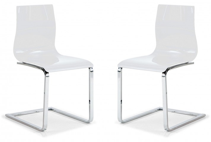 Gel White Chair with Chrome Base Set of 2