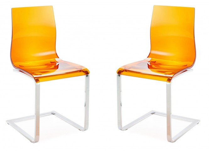 Gel Transparent Orange Chair in Chrome Base Set of 2