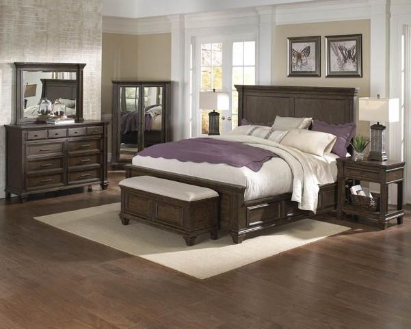 Gallatin Timeworn Mahogany Storage Bedroom Set