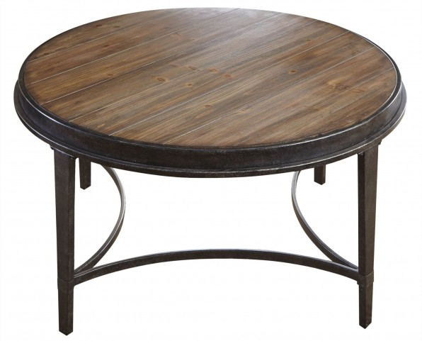 Gianna Antiqued Tobacco Round Cocktail Table