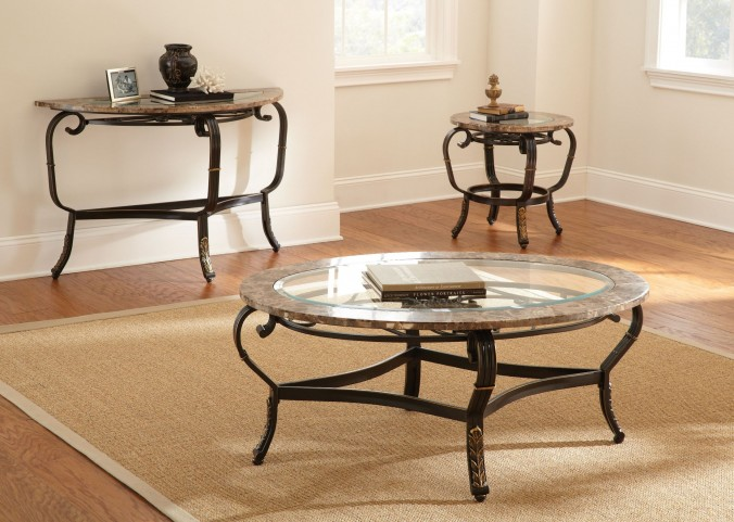 Gallinari Brown Marble Occasional Table Set