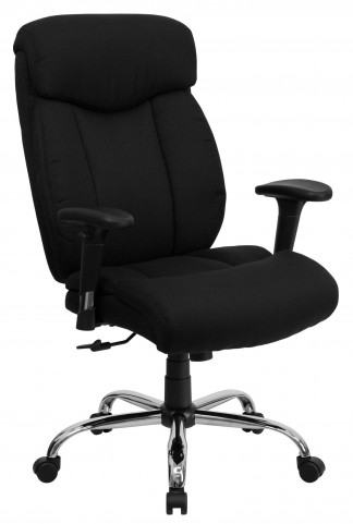HERCULES Big & Tall Black Fabric Swivel Arm Office Chair