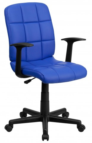 Blue Quilted Nylon Arm Task Chair