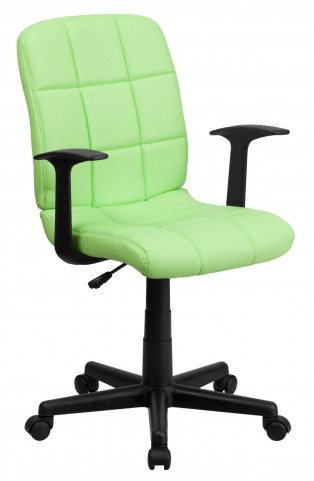 Green Quilted Nylon Arm Task Chair