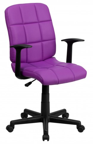 Purple Quilted Nylon Arm Task Chair