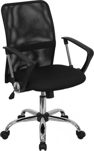 Mid-Back Black Computer Chair with Chrome Finished Base