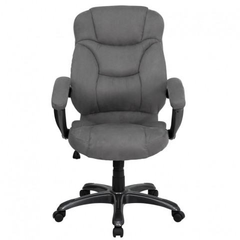 High Back Gray Upholstered Contemporary Office Chair