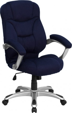High Back Navy Blue Upholstered Contemporary Office Chair