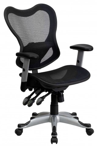 Mid-Back Black Triple Paddle Control Chair