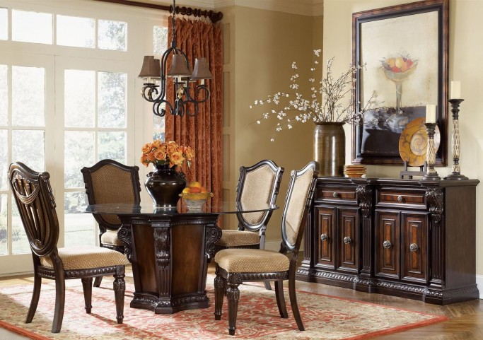 "Grand Estates Cinnamon 96"" Round Dining Room Set"