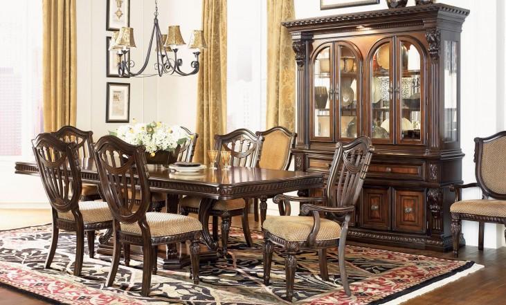 Grand Estates Cinnamon Extendable Double Pedestal Dining Room Set