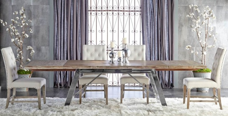 Grayson Gray Wash Rectangular Extendable Trestle Dining Room Set with Wilshire Dining Chairs