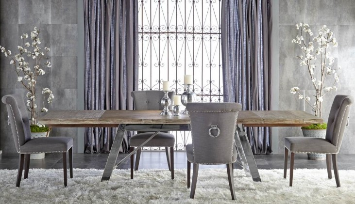 Grayson Gray Wash Rectangular Extendable Trestle Dining Room Set with Luxe Sepia Fabric Dining Chairs