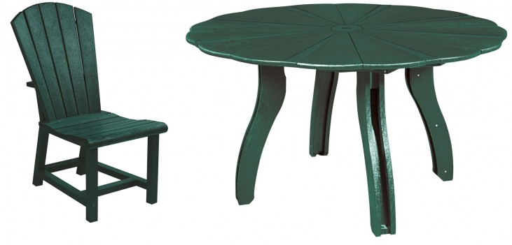 "Generations Green 52"" Scalloped Round Dining Room Set"