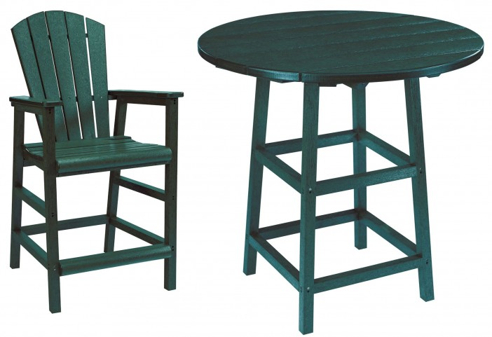 "Generations Green 32"" Round Leg Pub Set"