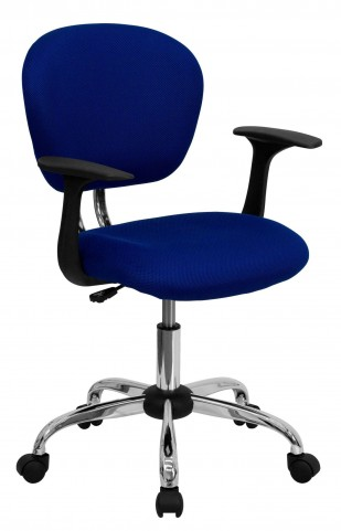 Mid-Back Blue Arm Task Chair