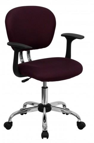 Mid-Back Burgundy Arm Task Chair