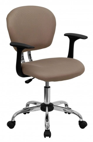 Mid-Back Coffee Brown Arm Task Chair