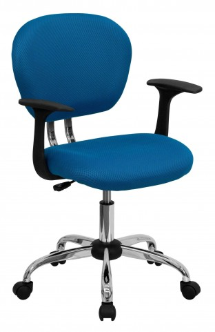 Mid-Back Turquoise Arm Task Chair