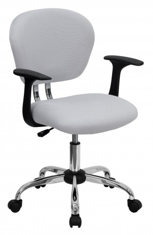 Mid-Back White Arm Task Chair